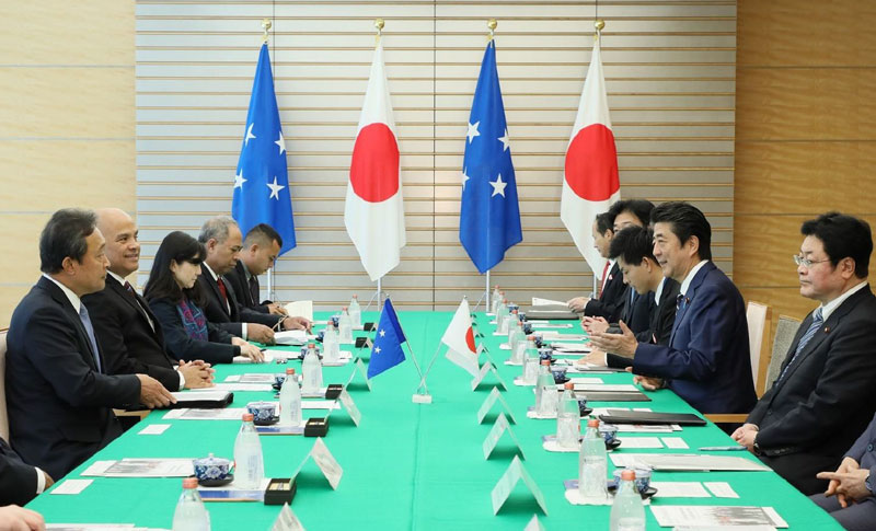 President Panuelo and Prime Minister Abe in their bilateral meeting